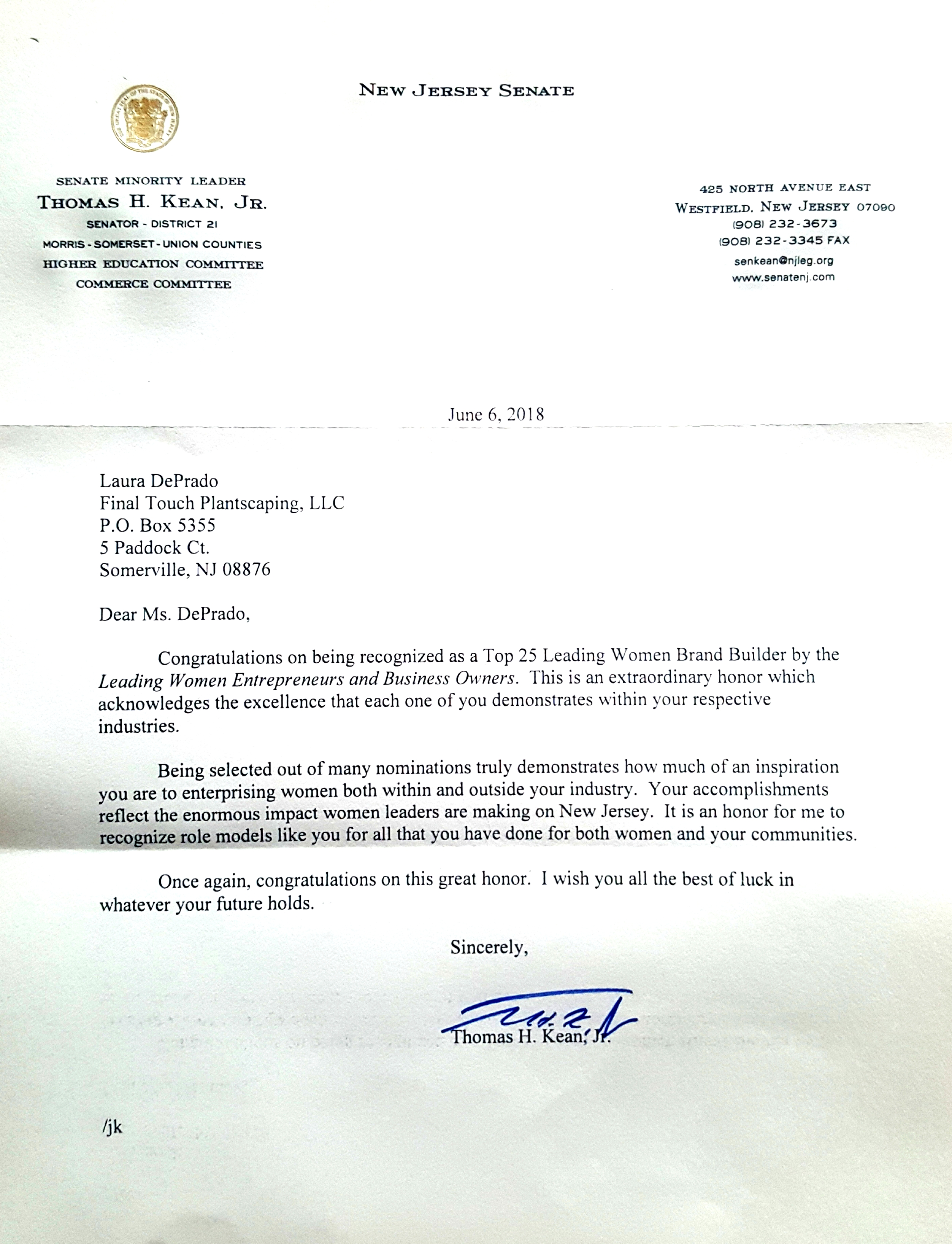 Congratulations-Letter-from-New-Jersey-Senate-Tom-Kean