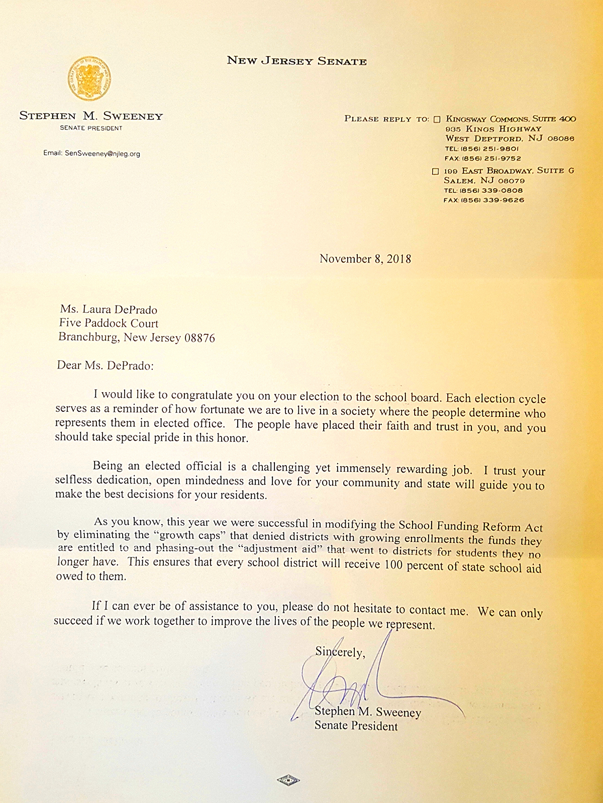 Congratulations Letter from New Jersey Senate President Sweeney