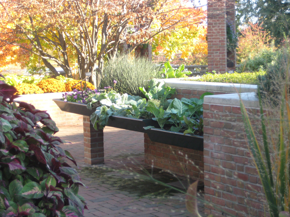 Accessible Metal Tray Table Planters on Brick