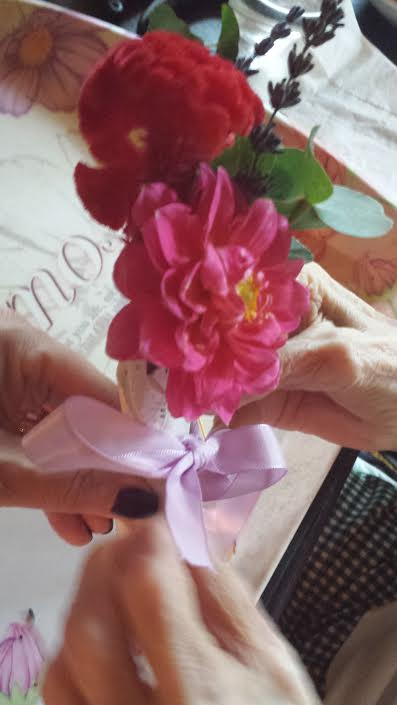 Lorraine HT Session 179 Tying Ribbon on Doylie Bouquet